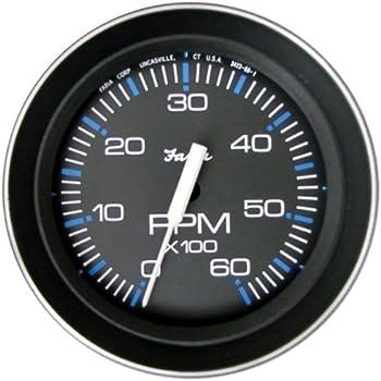 6000 RPM 5 Faria 33763 Chesapeake Black SS Tachometer with Hourmeter