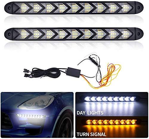Biqing 2PCS 12V LED Luz de Circulación Diurna, 9 LED Flecha Luz de Señal de Giro Que Fluye Luz de Tira de Luces LED de Coche Blanco ámbar de dos Colores Faros Delanteros DRL (25CM)