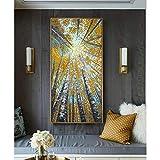 GUDOJK Cuadro de la pared de la pintura de la lona grande vertical moderna pintura decorativa imágenes abstractas arte acrílico paisaje pintura lienzo para sala de estar pared-60x120cm