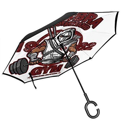Cobra Command Gym GI Joe Storm Shadow Doppelschichtiger umgekehrter Regenschirm für Auto Rückwärtsklappbar auf der Rückseite C-förmige Hände – leicht und Winddicht