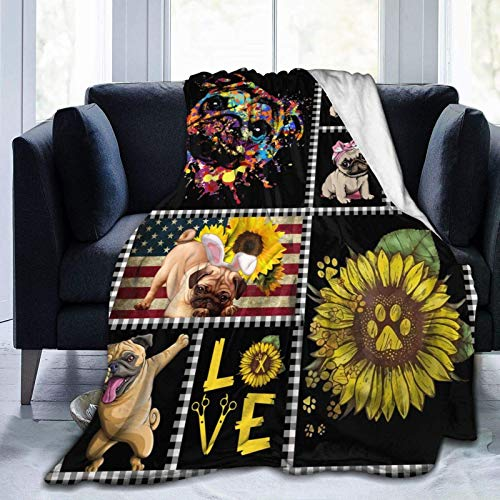 Throw Blanket Love Pug Dog and Sunflower Comfortable Flannel Blanket Ultra-Plush Breathable Warm Throw Lightweight for Home Couch Bed Sofa Chair Outdoor for All Season Gifts 80'X60'