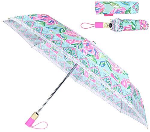 Lilly Pulitzer Women's Blue Travel Umbrella with Automatic Open/Close and Storage Sleeve, Aqua La Vista