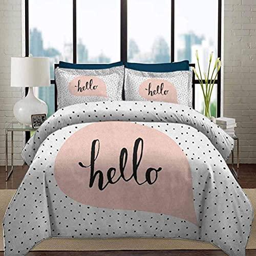 Juego de funda nórdica para ropa de cama Juego de funda nórdica Hello Chic Home Juego de funda nórdica rosa con forma de burbuja con mensaje de letra a mano Hola sobre fondo de puntos negros Juego de