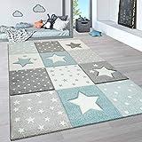 Paco Home Kinderteppich, Kinderzimmer Pastell Teppich mit 3D Wolken u. Stern Motiven, Grösse:80x150 cm, Farbe:Blau 4