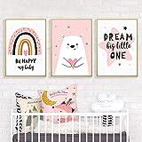 WTYBGDAN Love Bear Pink Rainbow Happy Dream Nursery Lienzo Pintura Arte de la Pared Impresiones Póster Imagen Niñas Dormitorio Decoración del hogar | 40x60cmx3Pcs / Sin Marco