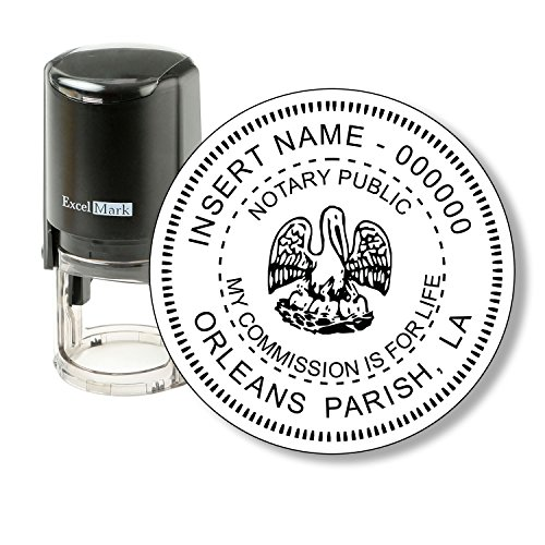 ExcelMark A-43 Self-Inking Round Rubber Notary Stamp - State of Louisiana