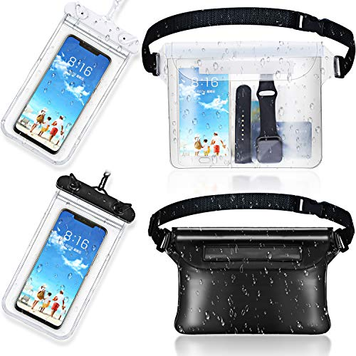 Frienda 2 Pieces Waterproof Phone Pouch Universal Cellphone Case and 2 Pieces Waterproof Fanny Pack with Waist Strap Screen Touchable Dry Bag for Swimming Boating Fishing (Clear, Clear Black, Black)