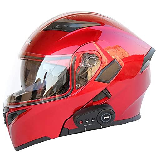 Cascos de Moto Bluetooth Modulares Con Doble Visera DOT/ECE Homologado Casco Integrado Motocross Racing Micrófono de Auricular Con Altavoz Incorporado Para Respuesta Automática 12,XL
