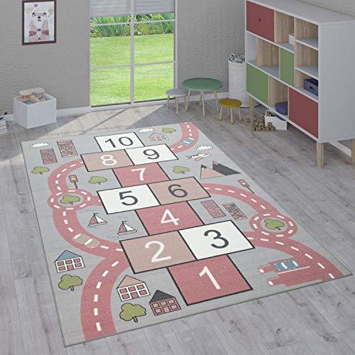 Paco Home Tapis Enfant, Tapis Poils Ras Chambre Enfant Différents Designs Tapis Jeu Coloré, Dimension:100x200 cm, Couleur:Rose 2