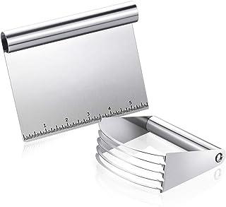 Fuumiy - Juego de 2 piezas de acero inoxidable, rascador de cocina multiusos con ayuda de medición, cortador de galletas m...
