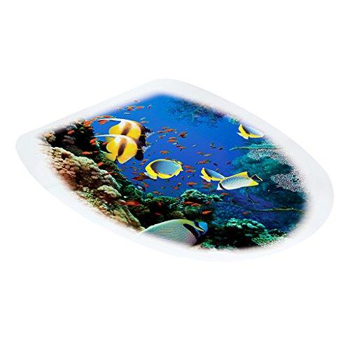 Gazechimp WC-Aufkleber Deckel für Toilettendeckel Badezimmer Toiletten Sitz Wandaufkleber DIY Dekor, 32x39cm - Tropische