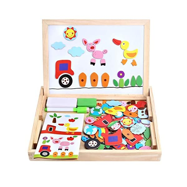 Wooden Toy Magnetic Board Puzzle Games , Double Side Jigsaw &Drawing Sketchpad...
