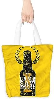 Handbag or crossbody messenger bag,Man Cave I Came I Saw I Drank Quote,Reusable Grocery Bags,16.5