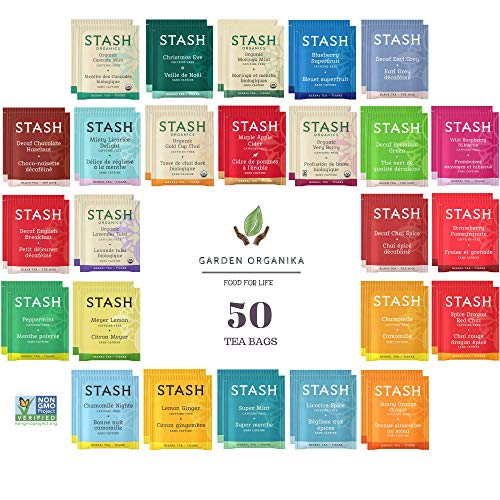 Stash Herbal and Decaf Tea Bags Sampler - 50 Count, 25 Flavors - Caffeine Free - Variety Pack Gift Set - /w Cotton Bag