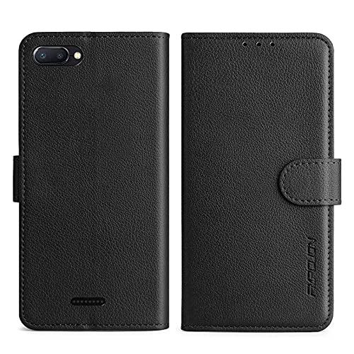 FMPCUON Handyhülle Kompatibel mit Xiaomi Redmi 6A Hülle Leder PU Leder Tasche,Flip Hülle Lederhülle Handyhülle Etui Handytasche Schutzhülle für Redmi 6A,Schwarz