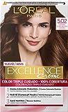 L'Oréal Paris Excellence - Crema Colorante Permanente Triple Cuidado con Pro-Keratina y Savia Nutritiva, Tono 5.02 Castaño Claro Helado