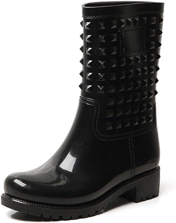 Stivali da pioggia donna antiscivolo stivaletti hunter alti wellington boots hitmars 6744X-BK36