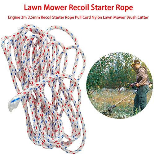Cuerda de arranque para cortacésped de 3 metros x 3,5 mm, herramienta de jardín para motosierra, cortacésped y cepillo C-Utter