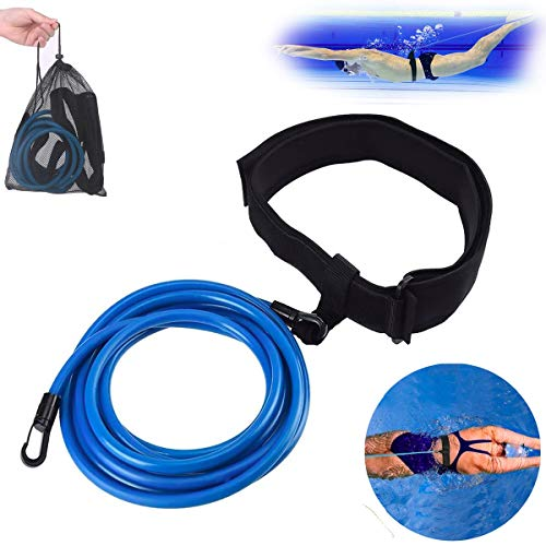 JACHOM Cintura da Nuoto, Corda Elastica per Nuoto, Fascia di Allenamento per Resistenza stazionaria, Formazione per Bambini/Adulti/Principianti