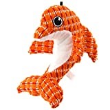 RUNALP Ocean Dolphin Dog Toy, Cute and Squeaky, Orange Dolphin