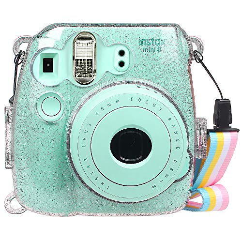 FINTIE Funda para Fujifilm Instax Mini 9/Mini 8+/Mini 8 - Bolsa Protectora Transparente de Colores para Cámara Instantánea PVC Duro con Correa Desmontable, Cristal Brillante