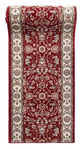 Läufer Teppich Flur in Rot - Orientalisch Klassischer Muster - Brücke Läuferteppich nach Maß - 100 cm Breit - AYLA Kollektion von Carpeto - 100 x 300 cm