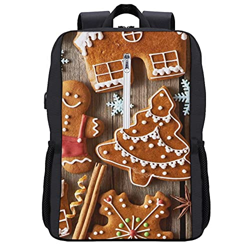 Travel Laptop Backpack,Gingerbread Man,Business Anti Theft Computer Bag Slim Durable with USB Charging Port