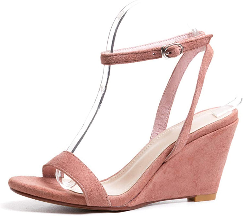 Soulength Women's Wedge Heel Slip Round Toe Open Toe Strap High Heel Sandals