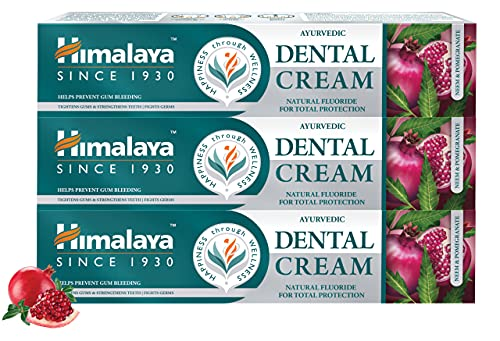 Himalaya Ayurvedic Dental Cream Herbal Toothpaste - Neem & pomegranate Gum protection |Helps fight Plague, Cavity and prevents tooth decay | with natural fluoride - 100g ( Pack of 3)