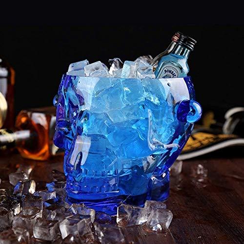 KONFA Schädel Wein Champagne Bucket Plexiglas Wein Chiller Ice Cube Container Cooler Party-Getränke Tub Barware,Blau