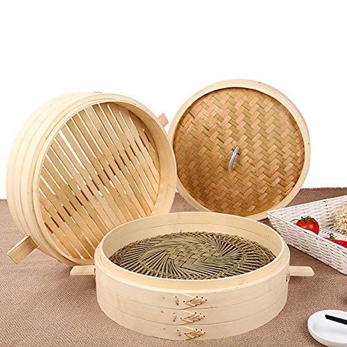 Canastas de vapor de bambú, vaporizador de alimentos chino hecho a mano con tapa, jaula de herramientas para utensilios de cocina para el hogar, cocina, restaurante, bolas de masa hervida, pastelería