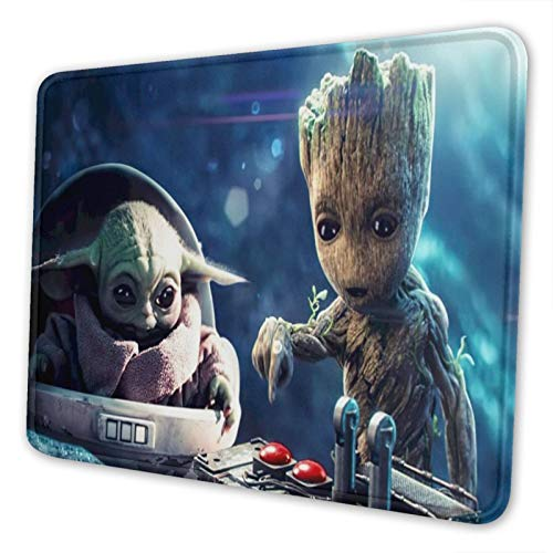 Baby Yo-da G-Root Mouse Pad Office Rubber Base Gaming Anime Personalized 3D Custom Design Mouse Mat for Computer/Laptop 7×8.6in