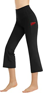 Bootleg Yoga Capris Pants with Pockets for Women High Waist Workout Flare Crop Leggings