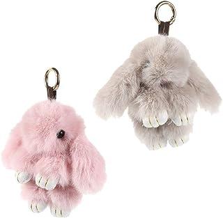 STOBOK Lot de 2 trousseaux de clés en fourrure synthétique Rex - Décoration pour garçons et filles