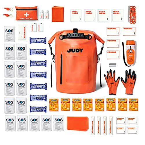 JUDY Emergency Preparedness Kit Backpack - Earthquake Kit, Hurricane Kit, Go-Bag with Tools for Safety & Warmth, First Aid, and Food & Water - The Mover Max (4 People)