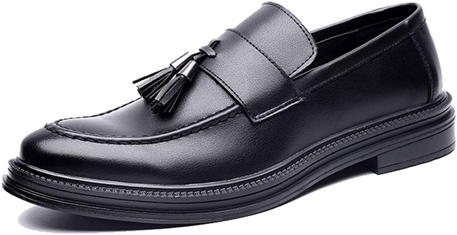 CHENDX shoes, Men's Casual British Style Business Oxford Flexible Tassel Pointed Toe Slip on shoes (color   Black, Size   8.5 UK)