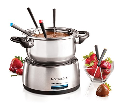 Nostalgia 6-Cup Stainless Steel Electric Fondue Pot with Temperature Control, 6 Color-Coded Forks and Removable Pot