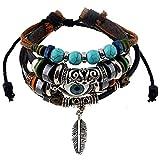 Beeria Bracelet en cuir bleu turc contre le mauvais œil - Protection contre le mauvais œil - Bracelet élastique - Unisexe - Perles ethniques tressées - Chaîne réglable avec un sac à bijoux