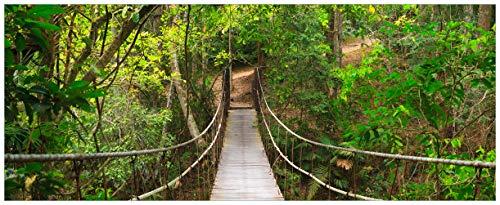 Wallario Acrylglasbild XXL Hängebrücke im Urwald grüner Dschungel - 80 x 200 cm in Premium-Qualität: Brillante Farben, freischwebende Optik