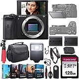 Sony Alpha a6600 Mirrorless Camera (ILCE6600/B) UHD 4K Body Kit + Extra Battery + Flash + 128GB U3 V30 Memory Accessory Bundle