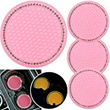 4 Pack 2.75' Bling Decor Crystal Rhinestone Car Cup Holder Coaster Insert Cup Mat,Car Bling Ring Emblem Sticker Bling Car Accessories for Home and Interior Car Decor Accessory, AB