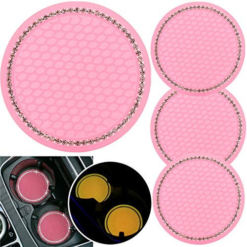 tunfo 4pcs 2.75' Bling Decor Crystal Rhinestone Car Cup Holder Coaster Insert Cup Mat,Car Bling Ring Emblem Sticker Bling Car Accessories for Home and Interior Car Decor Accessory, Fluorescent Pink