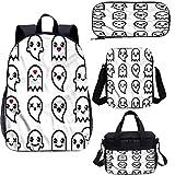 Juego de mochila para adolescentes de 17 pulgadas, diseño abstracto fantasma Doodle bolsas escolares para trabajo, escuela, viajes, picnic