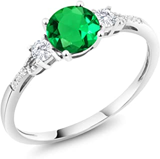 10K White Gold Diamond Accent 3-stone Engagement Ring set with Simulated Emerald White Created Sapphire 0.92 cttw (Available 5,6,7,8,9)