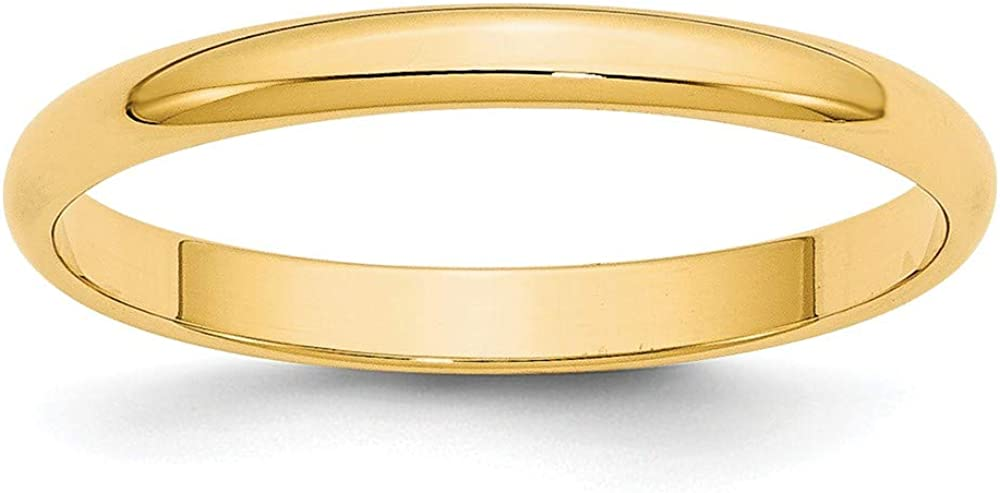 14k Yellow Gold 2.5mm Half Round Wedding Ring Band Size 6.5 Classic Fine Jewelry For Women Gifts For Her