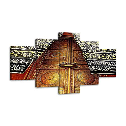 KALAWA Modern 5 Panel Islamic Canvas Wall Art Print Islamic Oil Paintings on Canvas Gallery-Wrapped Artwork Framed Stretched Ready to Hang (60''W x 32''H)