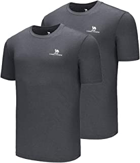 2 Packs Men Quick Dry T-Shirt Short Sleeves Moisture Wicking Tees Package Breathable Crewneck Shirts Packs for Running