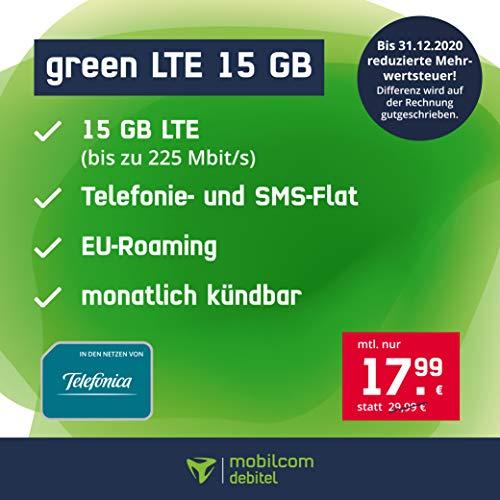 mobilcom-debitel Handyvertrag green LTE 15 GB - Internet Flat, LTE mit max. 225 Mbit/s, Allnet Flat Telefonie & SMS in alle Deutschen Netze, EU-Roaming, monatlich kündbar