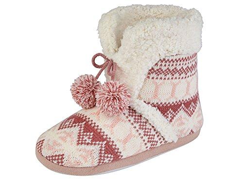 Jo&Joe Ladies Knitted Fair Isle Reindeer Pom Pom Pull On Warm Fleece Lined Winter Slipper Boots Size S M L (L (UK 7/8- EU 40/41), Pink)