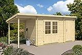 CARLSSON Alpholz Gartenhaus Martina-28 mit Anbau aus Massiv-Holz | Gerätehaus mit 28 mm Wandstärke | Garten Holzhaus inklusive Montagematerial | Geräteschuppen Größe: 450 x 350 cm | Satteldach